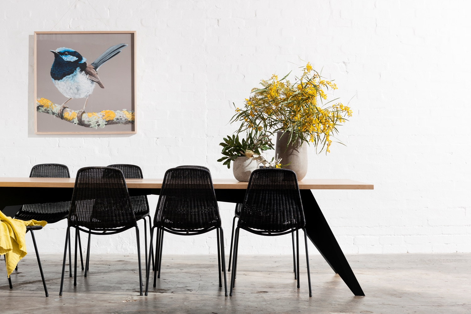 Metal and timber dining table Melbourne