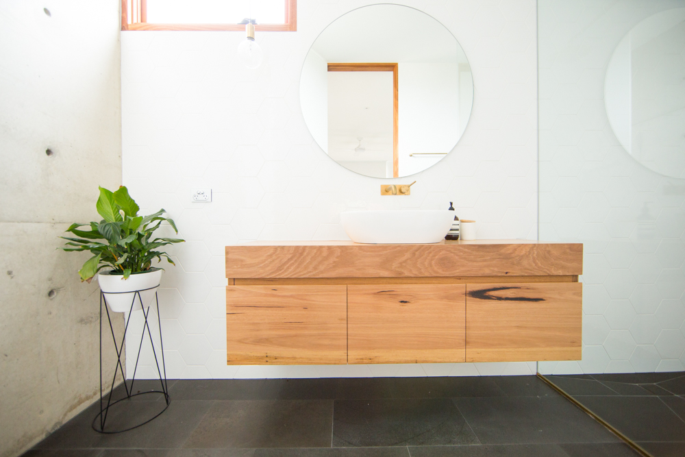 Timber vanity with drawers