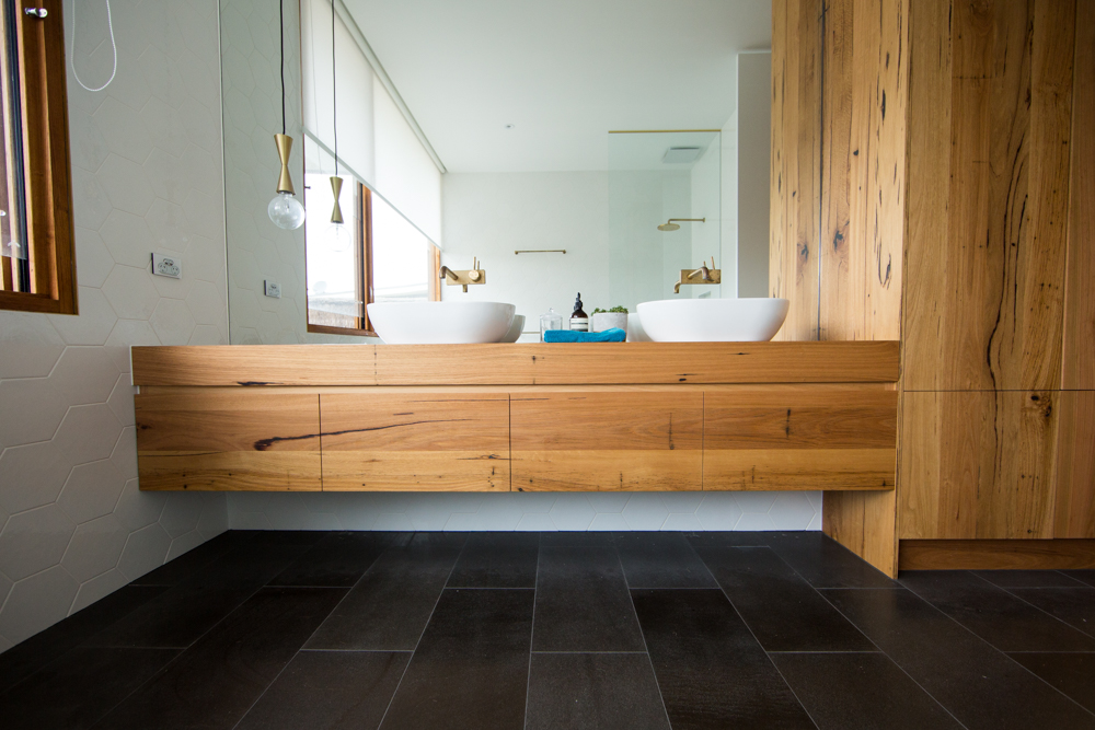 Large floating timber vanity