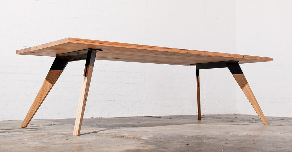 modern timber and metal dining table