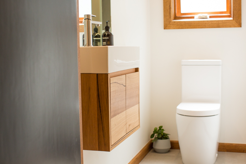 Small timber bathroom vanity
