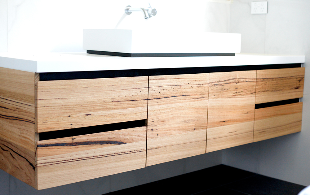 modern timber vanity with black