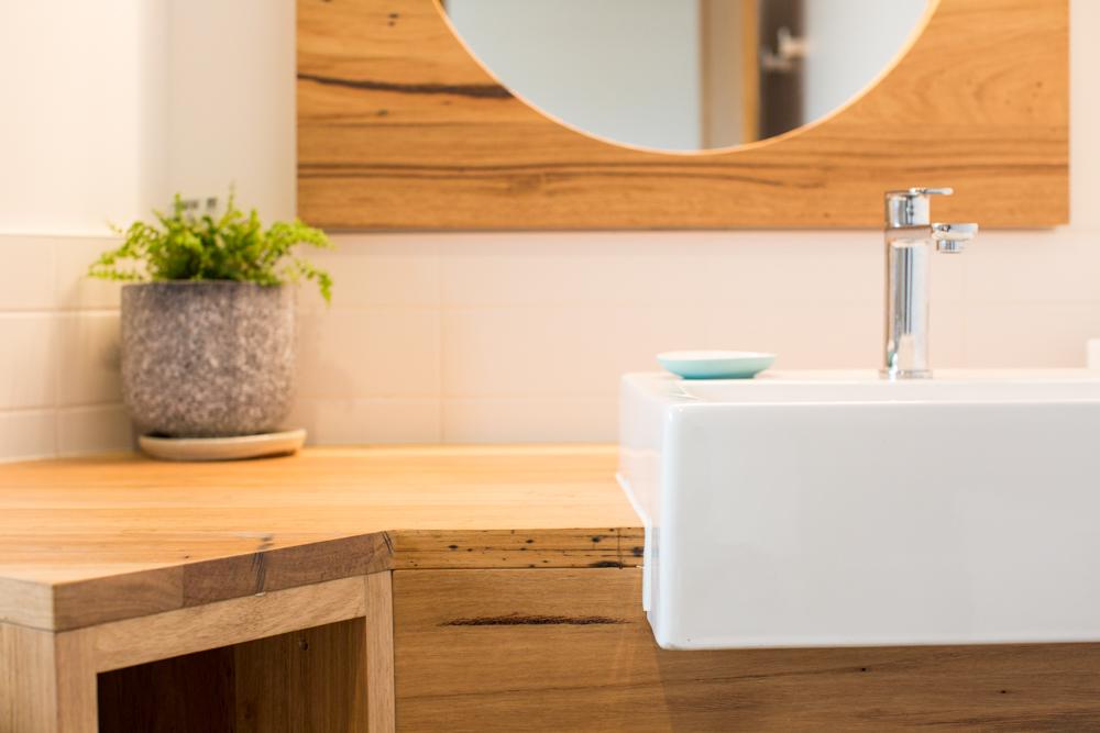 Custom corner timber vanity