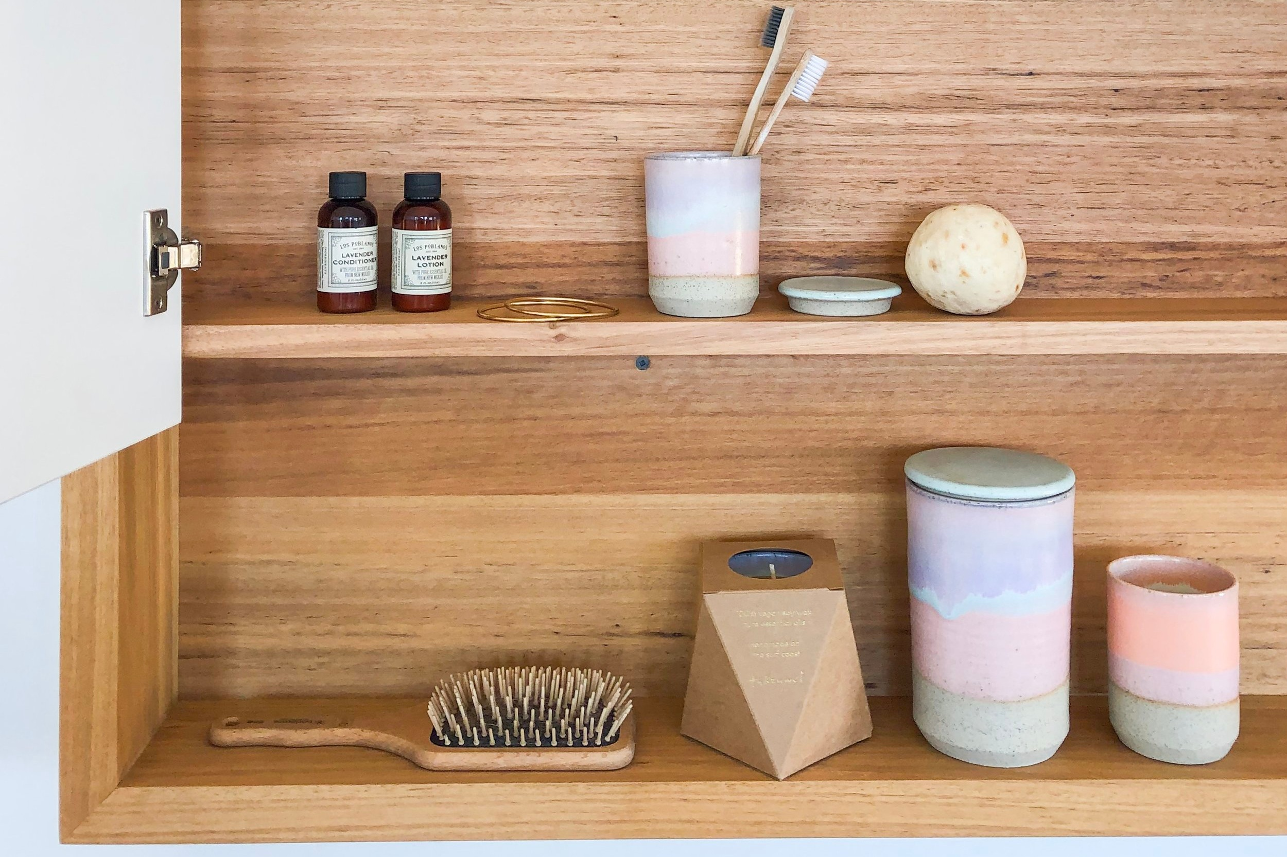 timber shaving cabinet with shelf