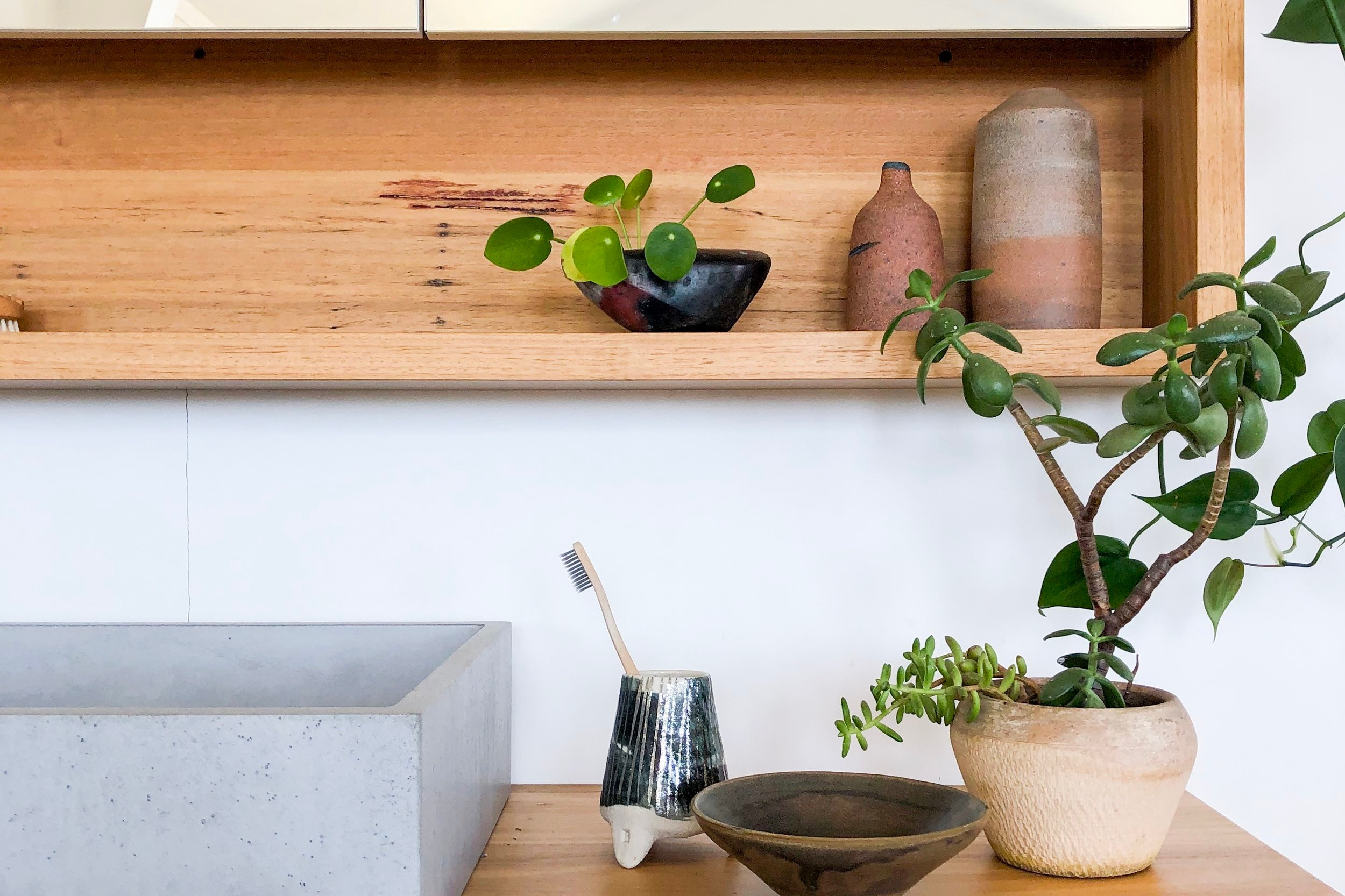 custom timber medicine cabinet with shelf