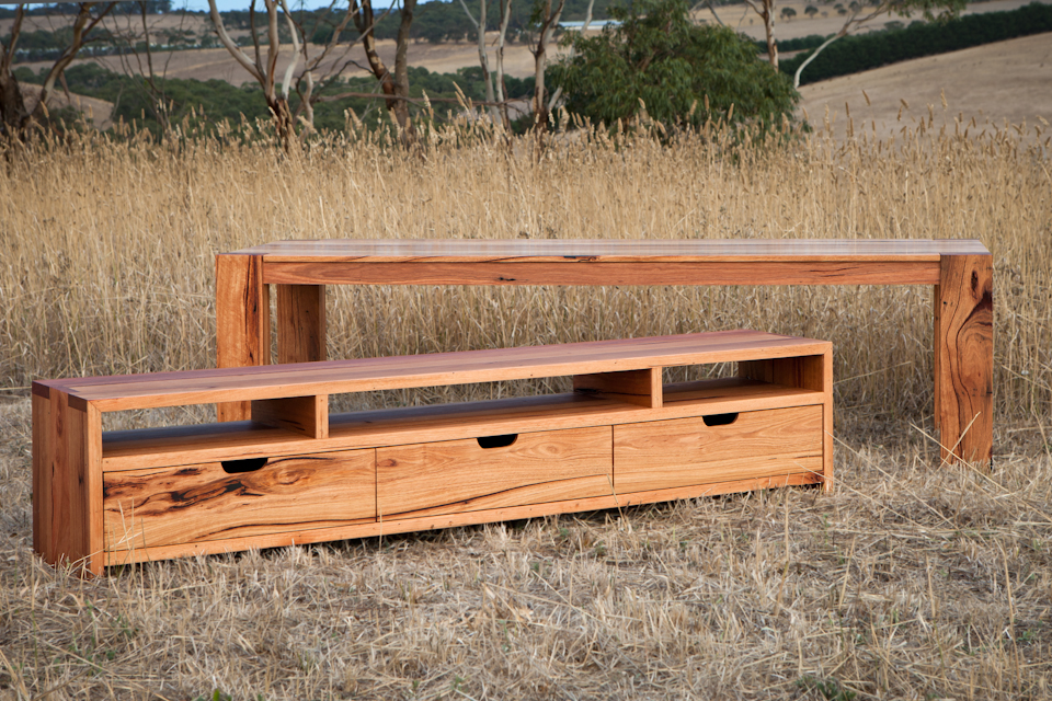 Modern recycled timber tv cabinet