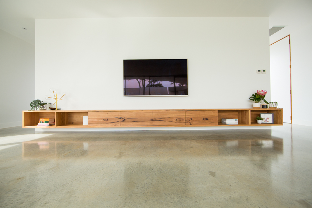 floating timber tv unit