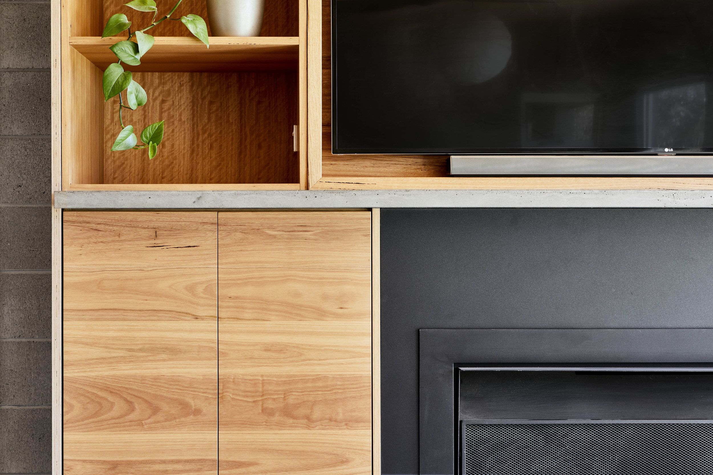 timber fireplace cabinetry