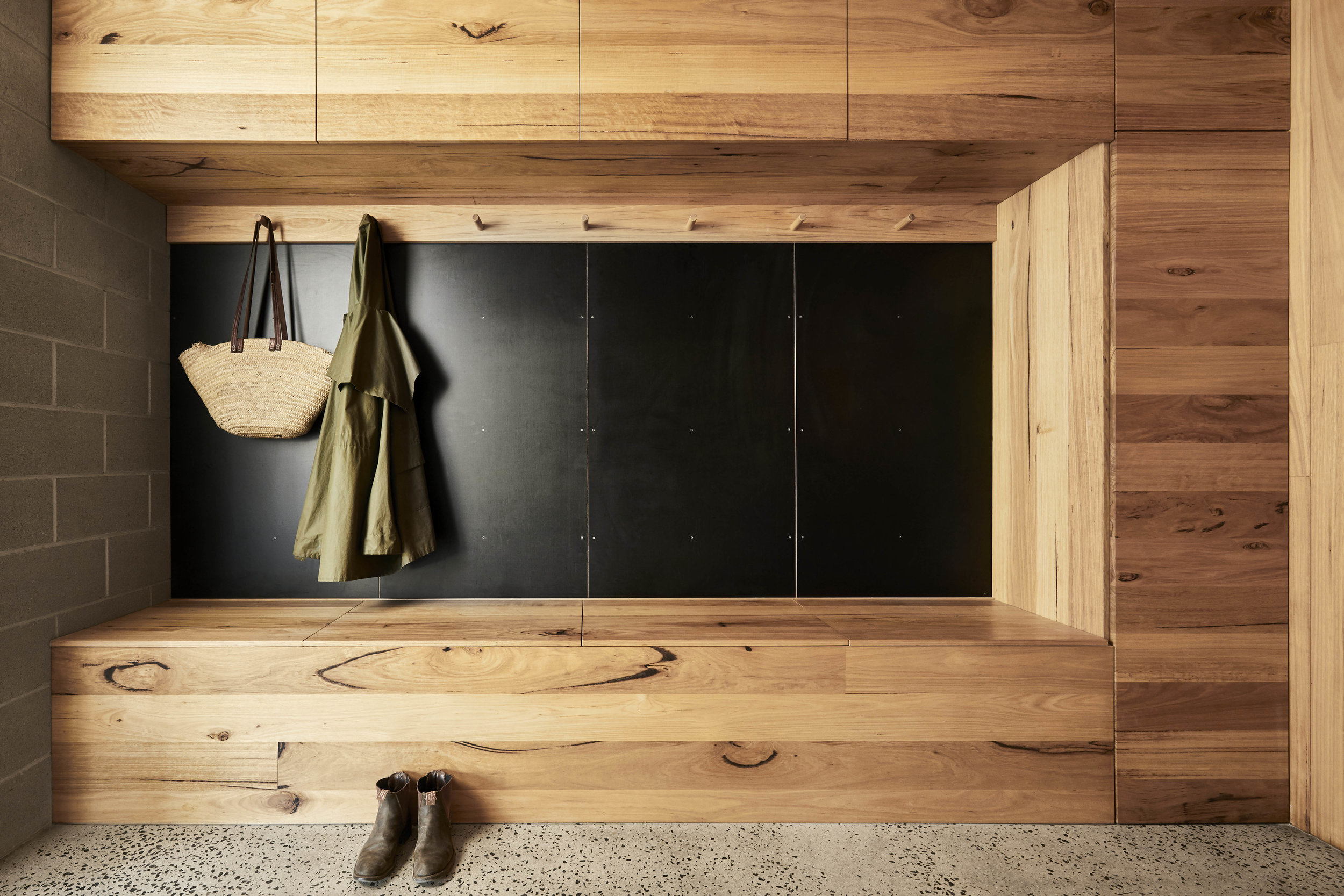 Solid timber mud room cabinetry