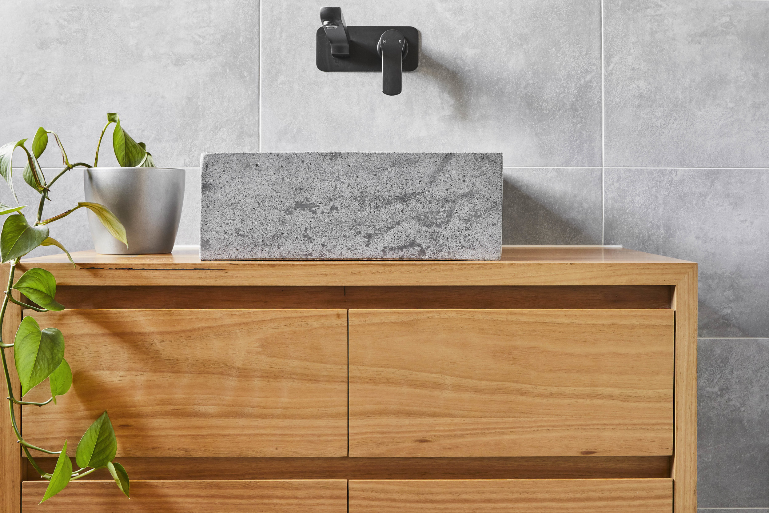 small timber vanity