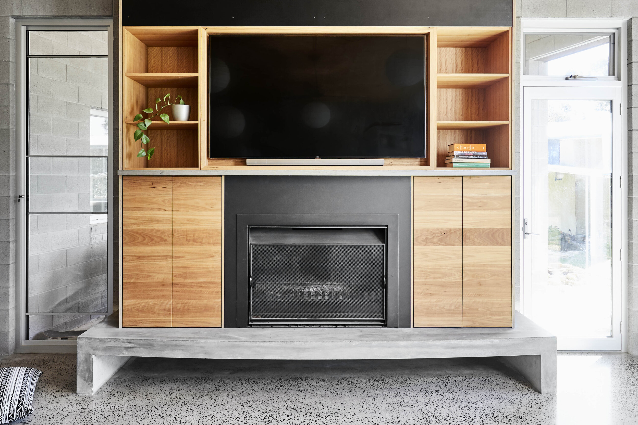 Solid timber inbuilt cabinets fireplace
