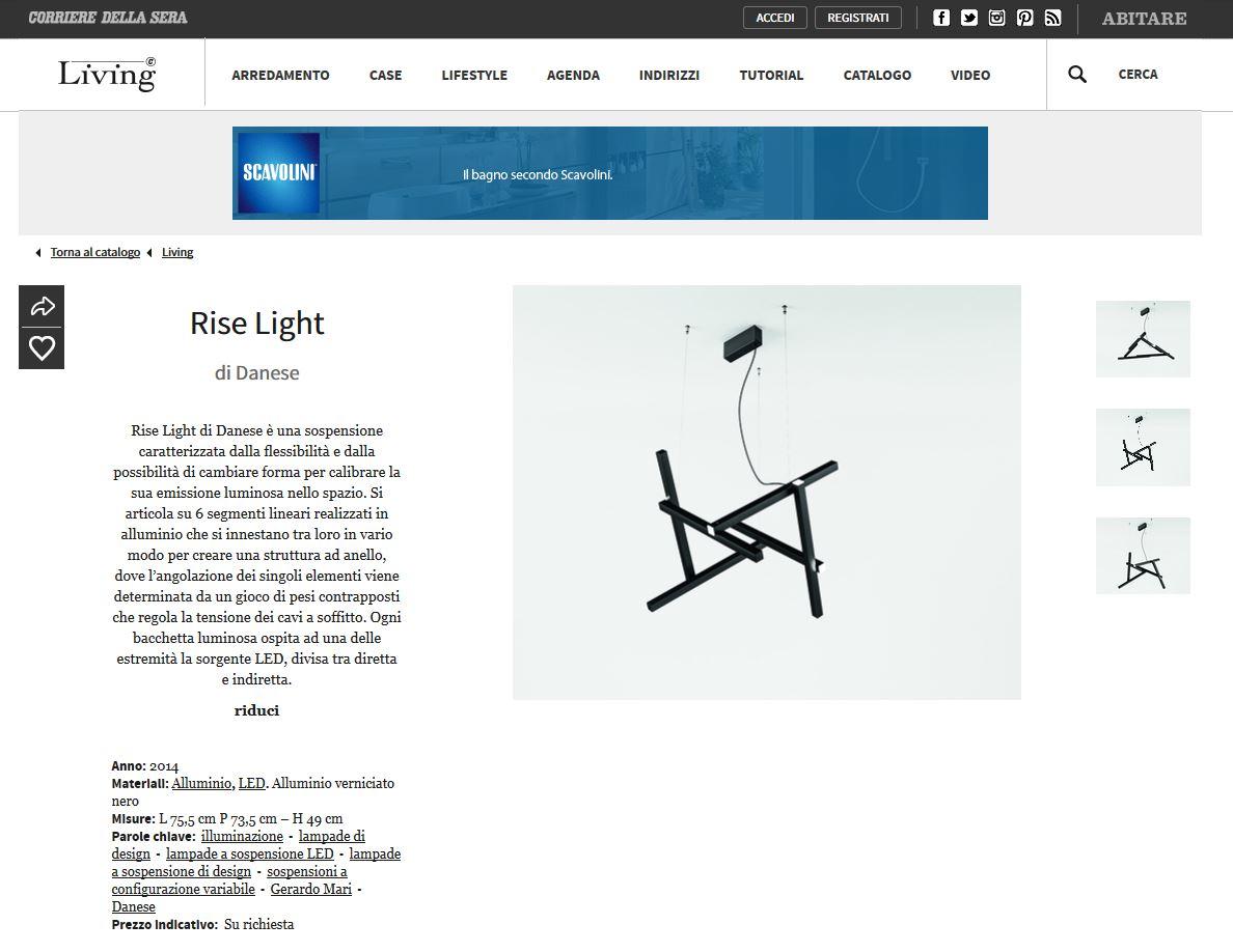 Living Corriere della Sera - December 2014 - Italy - Rise Light
