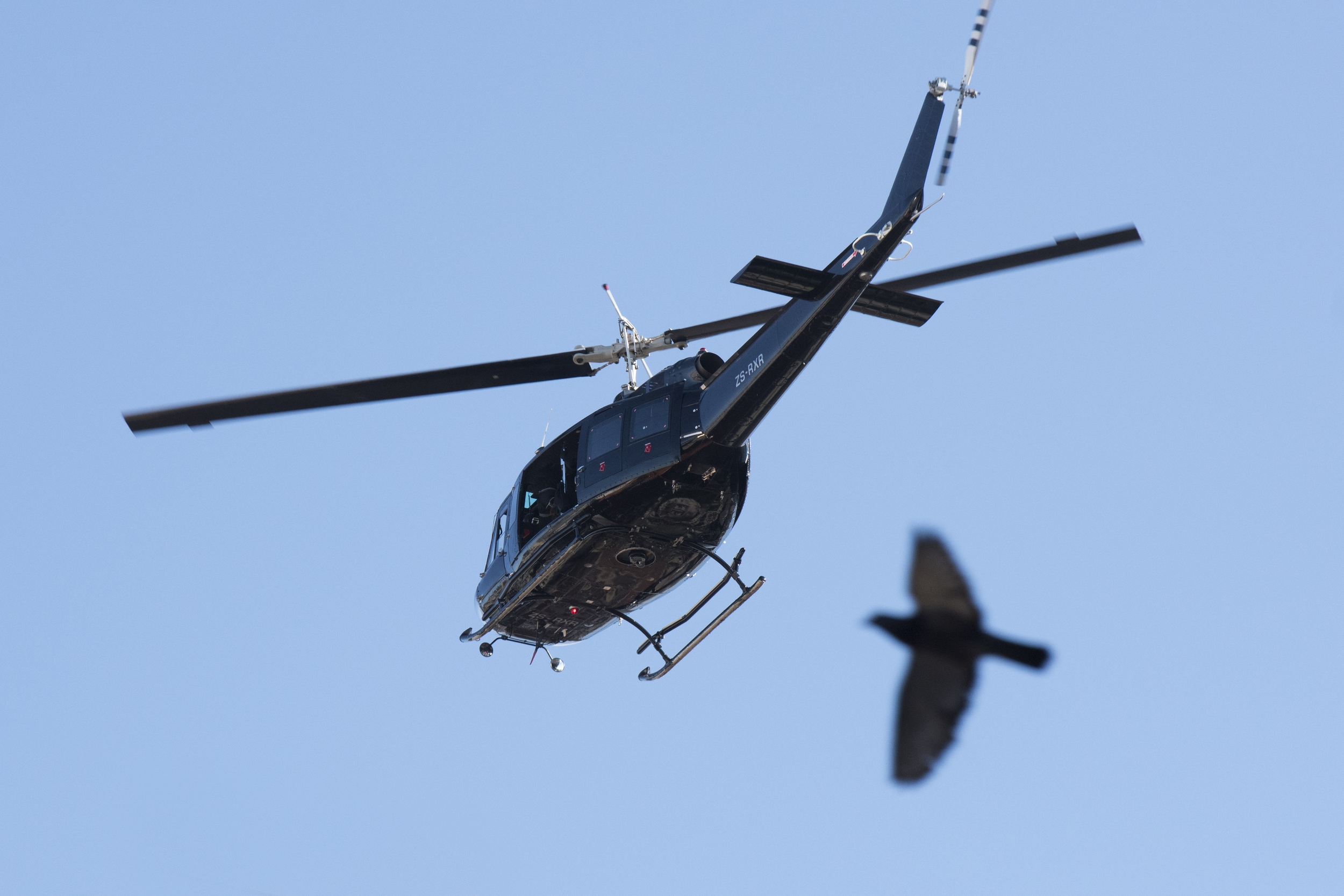 The helicopter used by the baddies, lucky as a bird flew by!