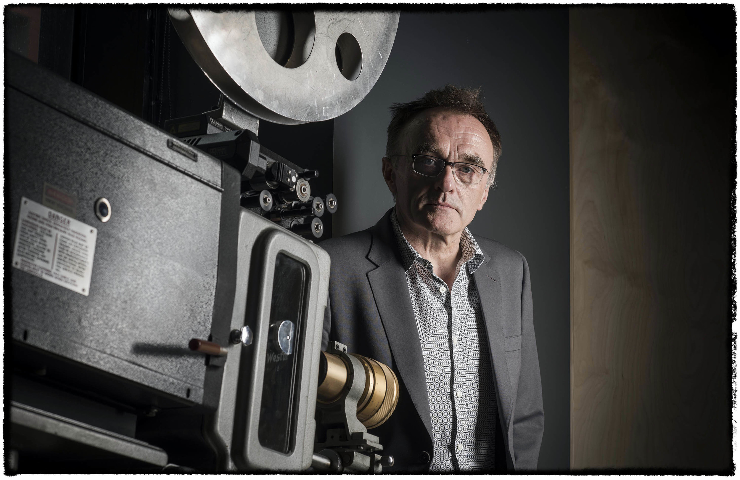 Danny Boyle director pictured at home in manchester photo credit
