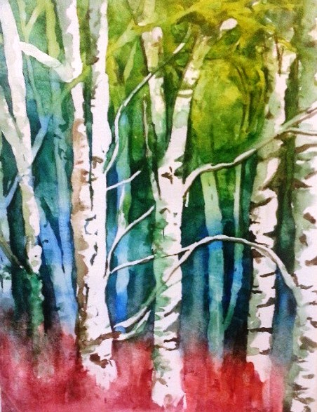 """Birch Trees"" - Watercolor study on paper"