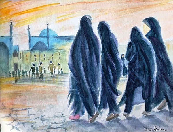 """Friday Prayer"" - Watercolor on paper (2013)"