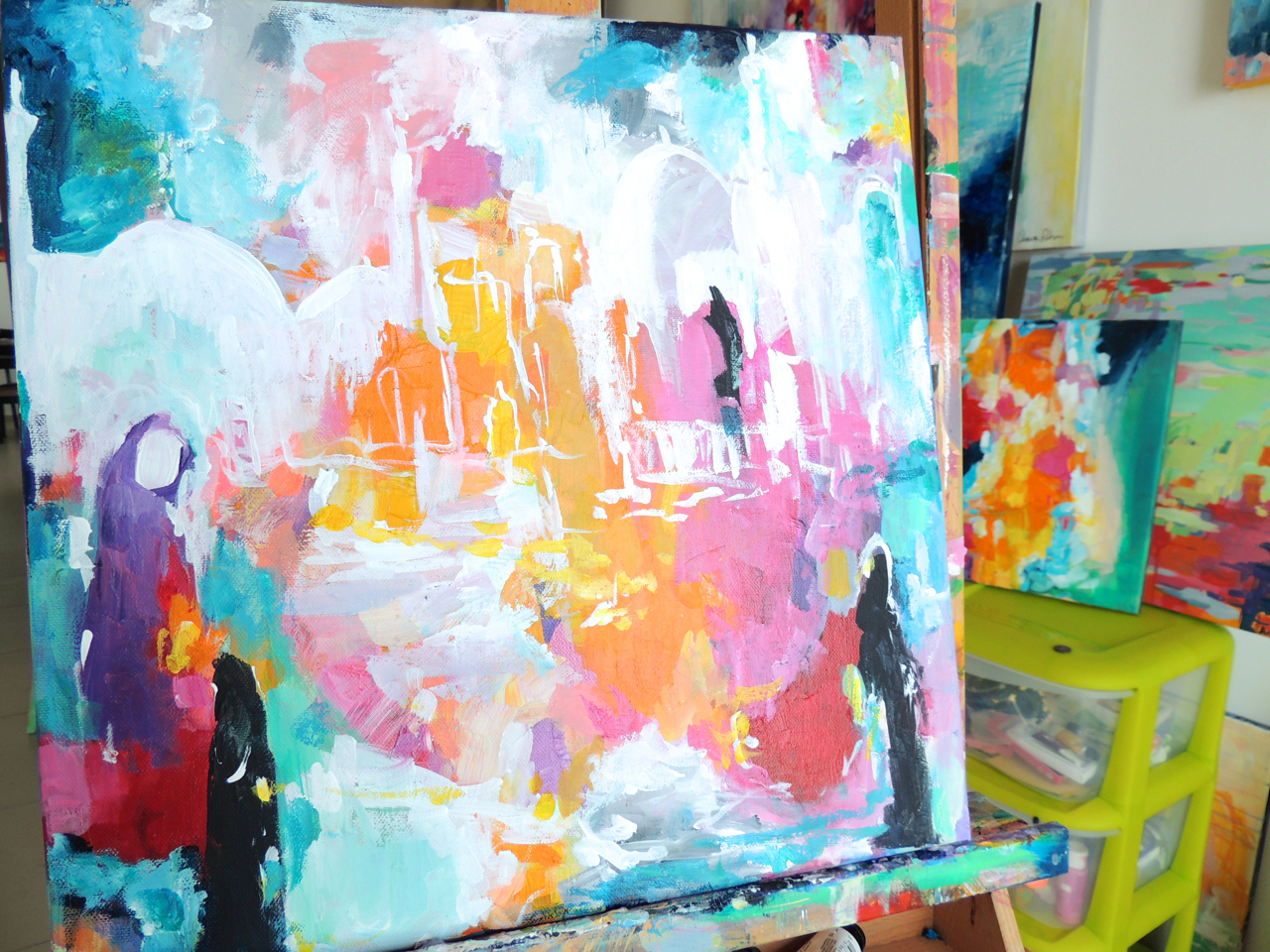"""""""Jumuah"""" is a 12x12"""" piece on canvas that I started yesterday morning."""