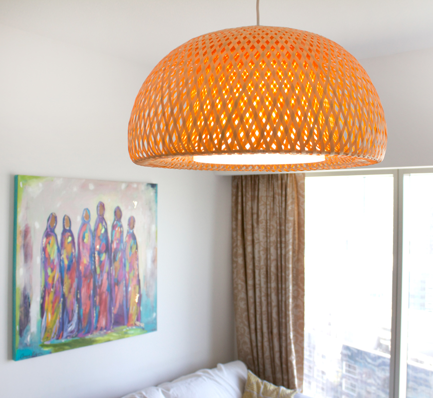 This pendant light captured me right away. I love the bamboo design and adds a bit of warmth to the home.