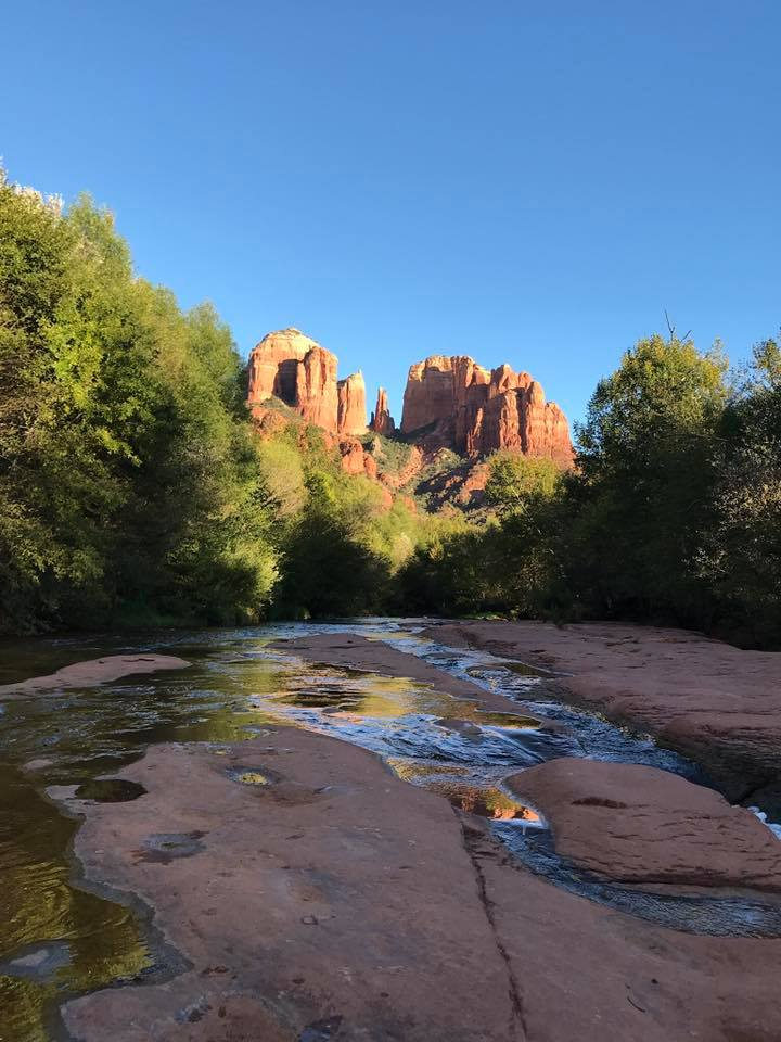 "I meditated on the rocks sitting at the base of Sedona's most photographed site ""Cathedral Rock"" and it inspired the title for my painting "" Meditation on the Rocks """