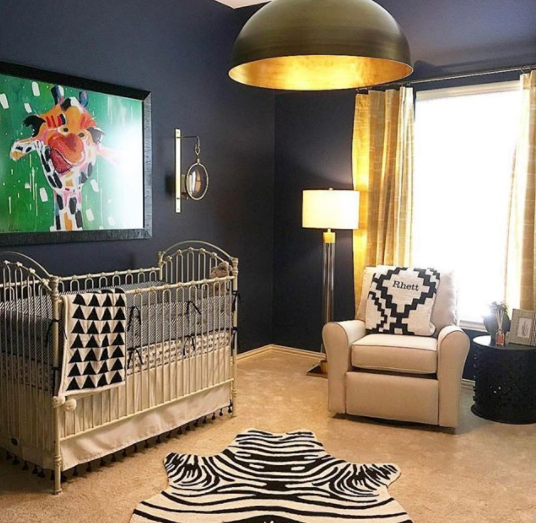 "Interior Designer Amanda Hill decided to pair this chic boys nursery with a large  ""Gino"" canvas print.  I love the black frame she chose to hold the artwork!"