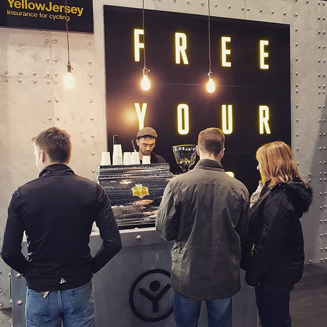 Providing lever espresso for visitors to the @yellowjerseyuk stand @thelondonbikeshow this weekend.  #bikelife #cycleinsurance #bikeporn #coffeeporn #leveraction #leverfever #leverespresso @victoriaarduino1905 @caffeinemag