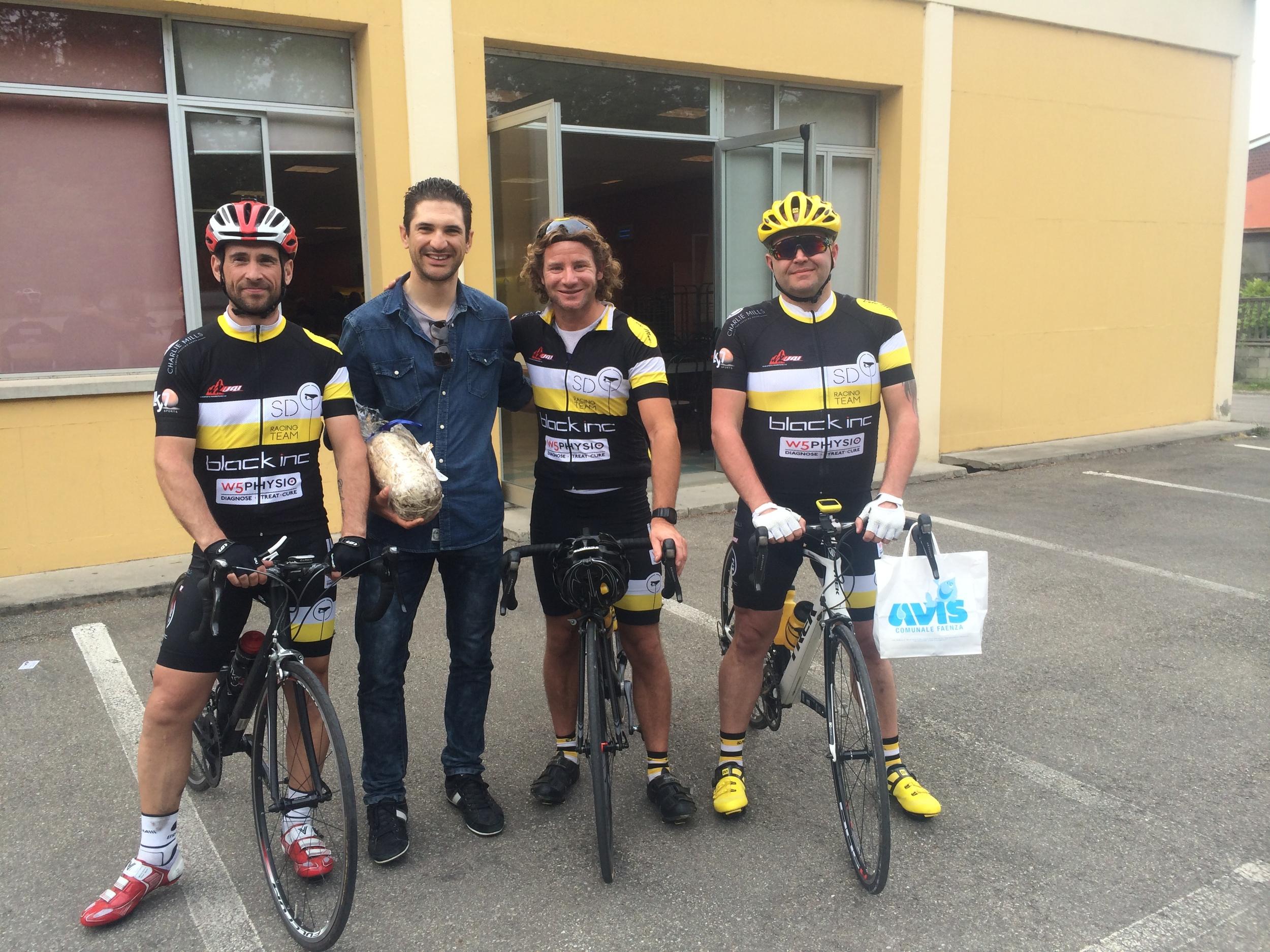The team with Alan Marangoni of Team Garmin-Cannondale.