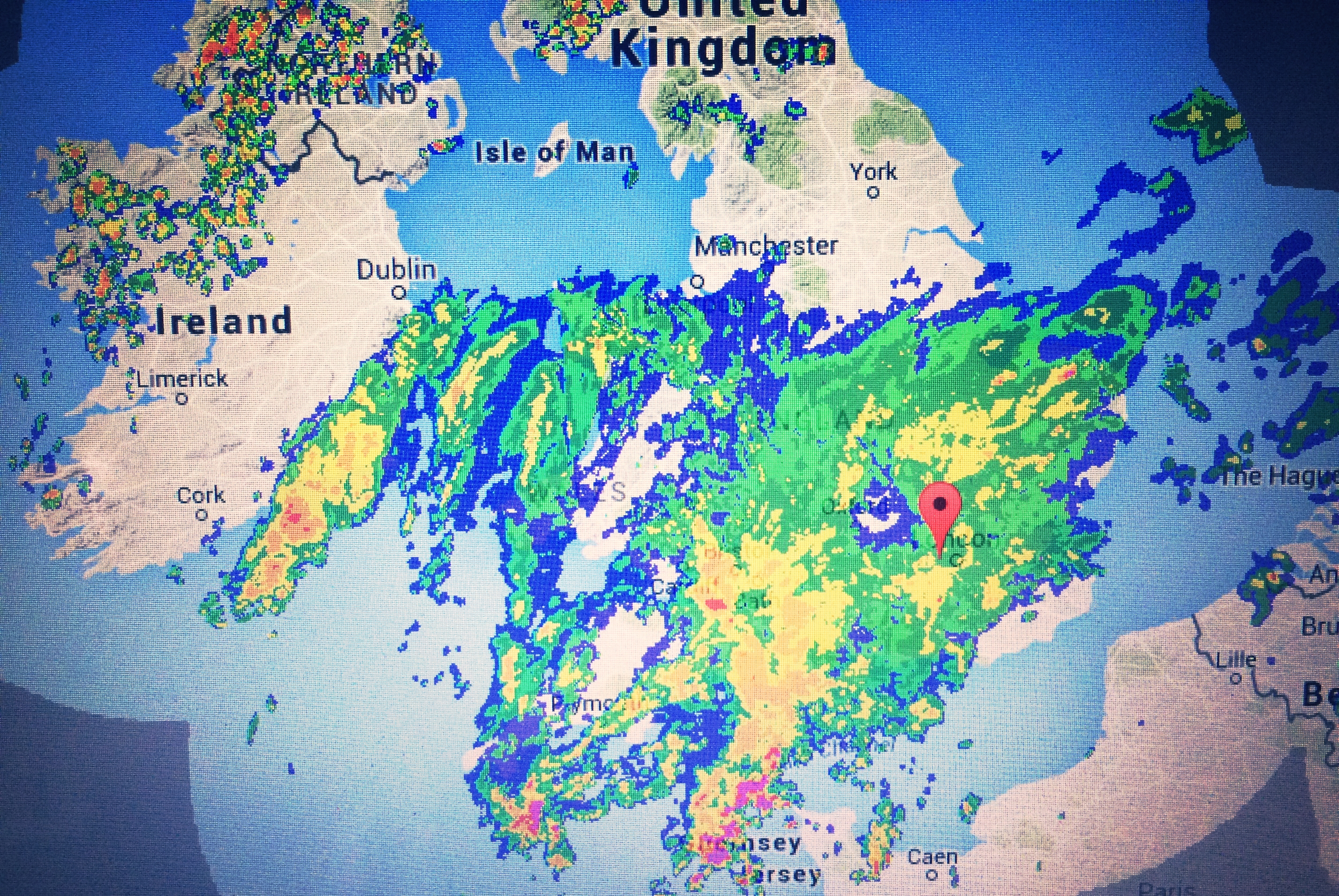 The weather radar before departing