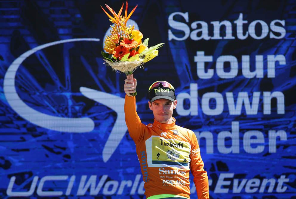 Stage2c-Australian Jay McCarthy(Tinkoff) wears the Santos Ochre Leaders jersey
