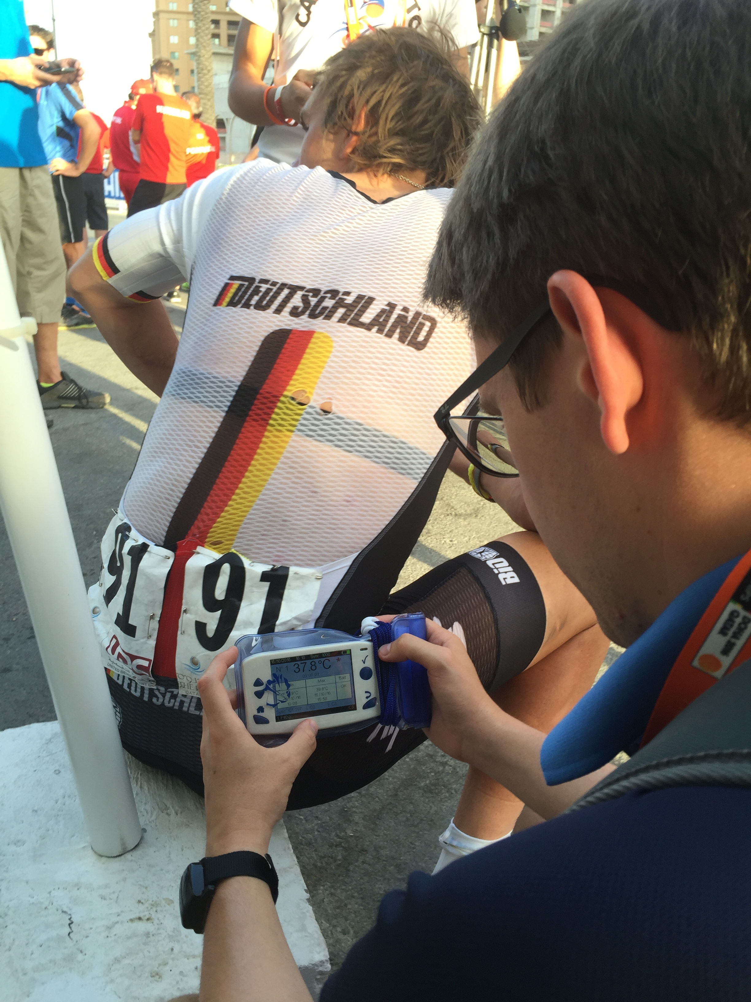 Team Germany had few DNF's.Doctors checking body temperature.