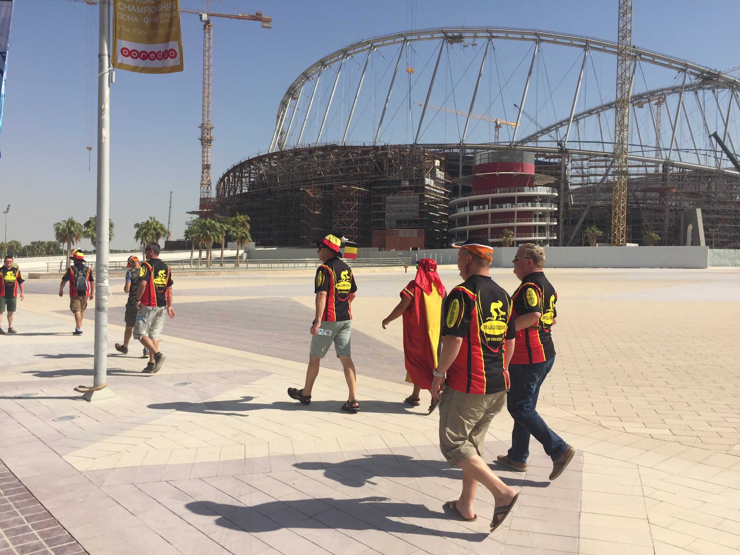 Belgian Fans walking to the Start Line.Behind one of stadiums for the FIFA WORLD CUP 2022
