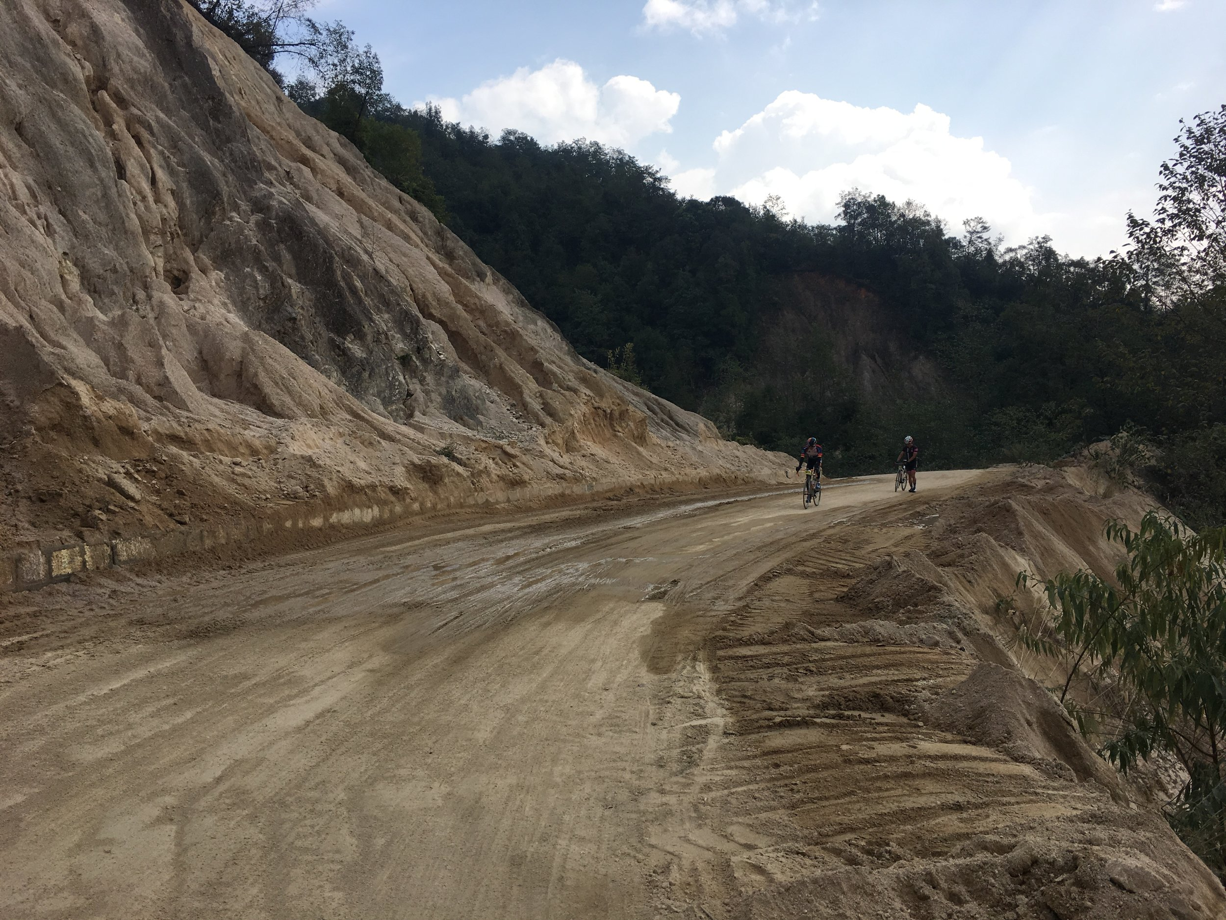A bit of landslide happen recently but riders were still able to ride through.