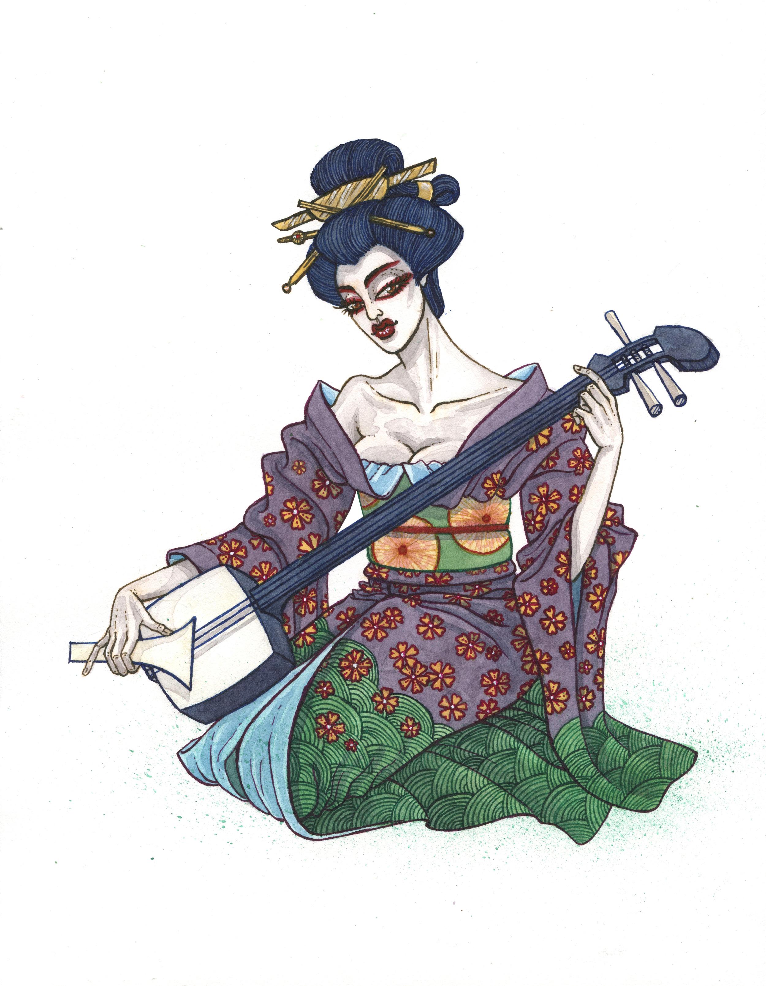 Geisha With Shamisen