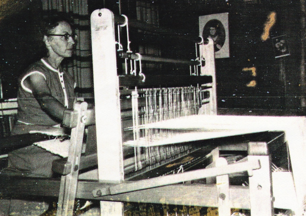 Velma Schroedel at a loom in the parsonage.