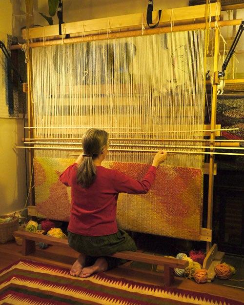 "Stephanie Hoppe weaving ""Like a River"" with Rio Grande hand-dyed Rug yarn"
