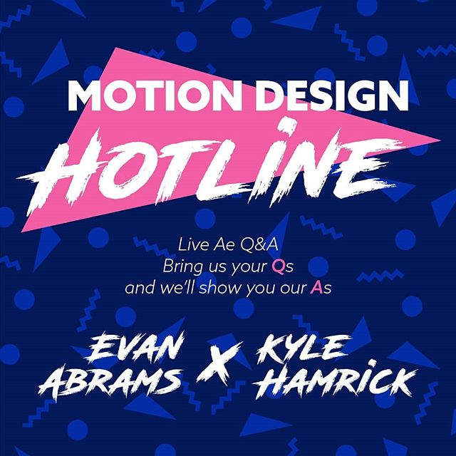 Starting this week, join @evancabrams and I for a live weekly After Effects Q&A on Youtube. We'll be on every Friday at 1p EST/10a PST, answering questions about AE, motion design, compositing, vfx, freelancing ... pretty much whatever you can throw at us.  Mark your calendars! https://youtu.be/H_5SrN0fZl4 . . . #aftereffects #motiongraphics #motiondesign #vfx #compositing
