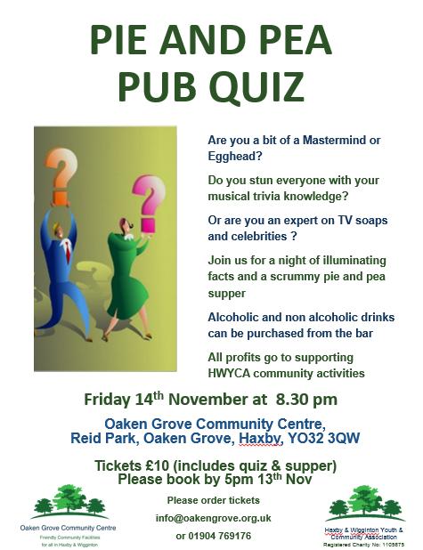 Pie & Pub Quiz in Haxby