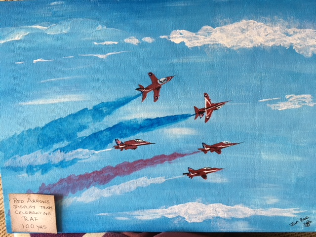 LOT 11   A painting commemorating 100 years of the RAF depicting the red arrows. This beautiful little painting encompasses the excitement of the RAF in this centenary year. Prize donated by Local artist Jan Breeds   Current Bid £50