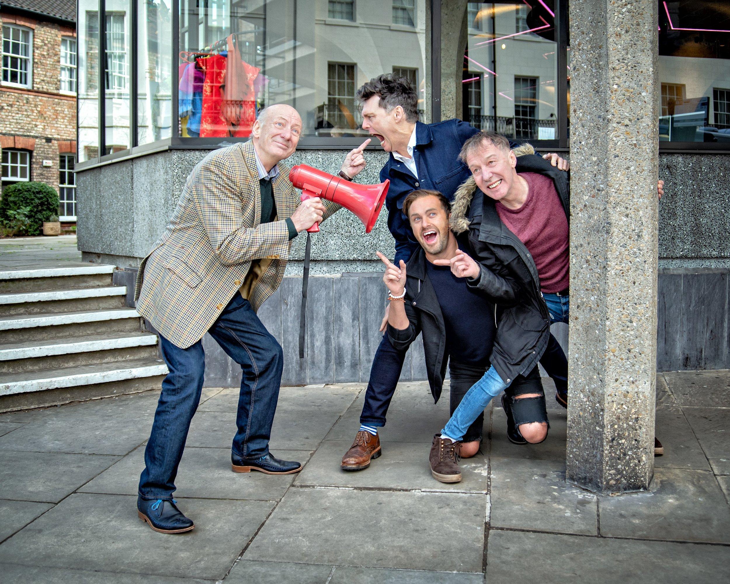 Berwick Kaler 'directs' David Leonard, Martin Barrass & A.J Powell at the launch of Sleeping Beauty Photo by Anthony Robling.jpg