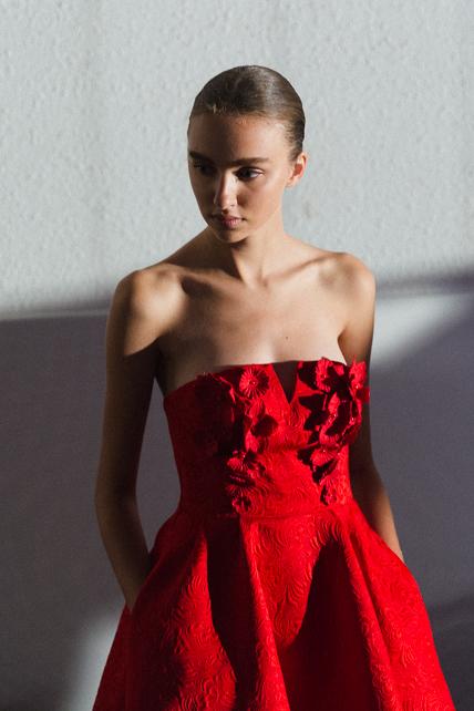 @gabriellalaws BTS portrait red dress