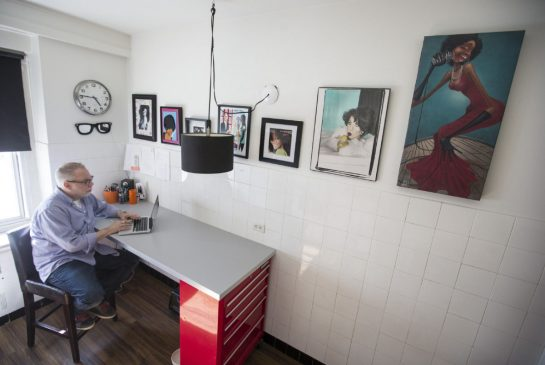 A mechanic's set of tool drawers anchors celebrity makeup artist Dino Dilio's kitchen desk