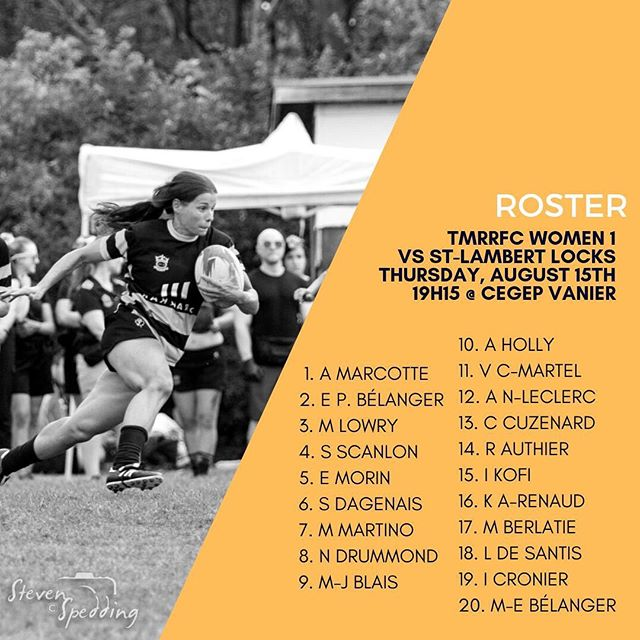 Un alignement de 🔥 pour ce soir contre les @locksrugby!  #rugby #rugbycanada #rugbyquebec #thursdayisrugbyday #playlikeagirl #roster #alignment #gotown #lastgame #tmrrfc