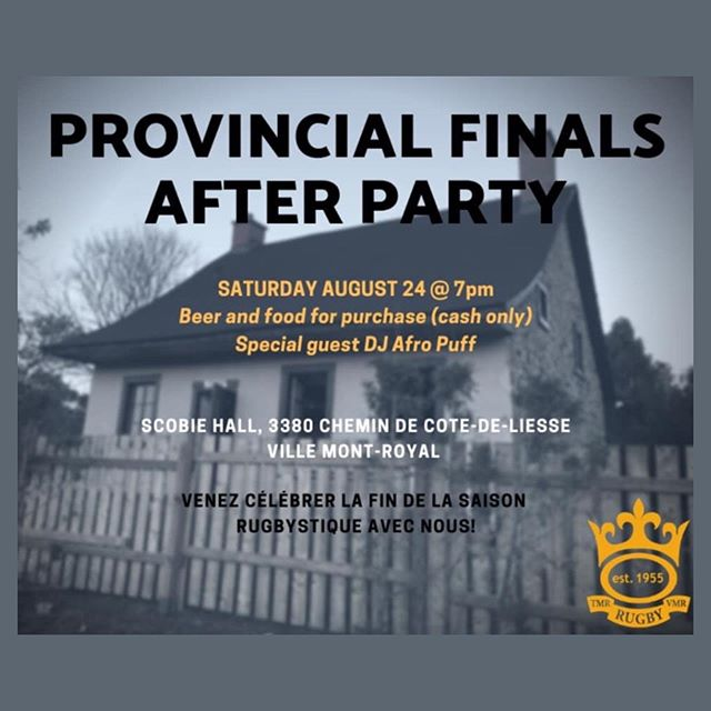 You are cordially invited to celebrate the end of the season at our clubhouse Saturday August 24th at 7pm!  @beaconsfieldrugby @club_rugby_quebec @rugby.crq @westmountrugby @montrealirish @mtlwanderersrfc @rugbycanada @rugbyquebec @locksrugby @rugbylumberjacks @abenakisrugby @rugby_club_montreal @ottawascottishrugby @parcolympiquerugby @montrealbarbariansrugbyclub @sabrfc  #rugby #rugbycanada #rugbyquebec #rugbyplayer #rugbyfinal #thirdhalf #rugbyfamily #endoftheseason #tmrrfc