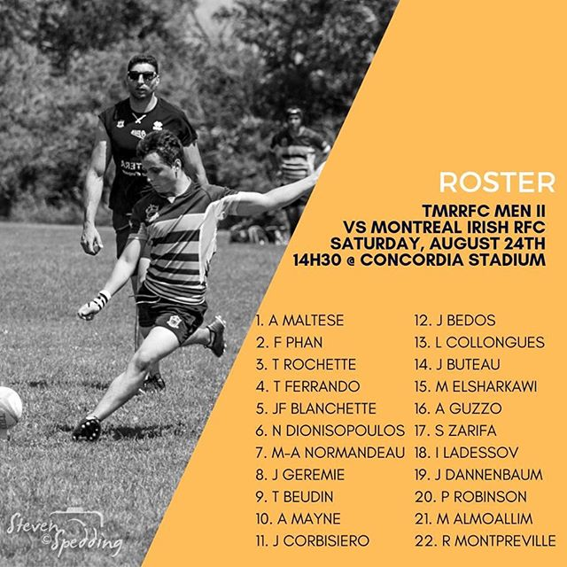 Les alignements pour d'aujourd'hui!  #roster #tmrrfc #saturdayisrugbyday #rugby #rugbyquebec #rugbycanada #gotown #bleedblueandgold #rugbyfinal