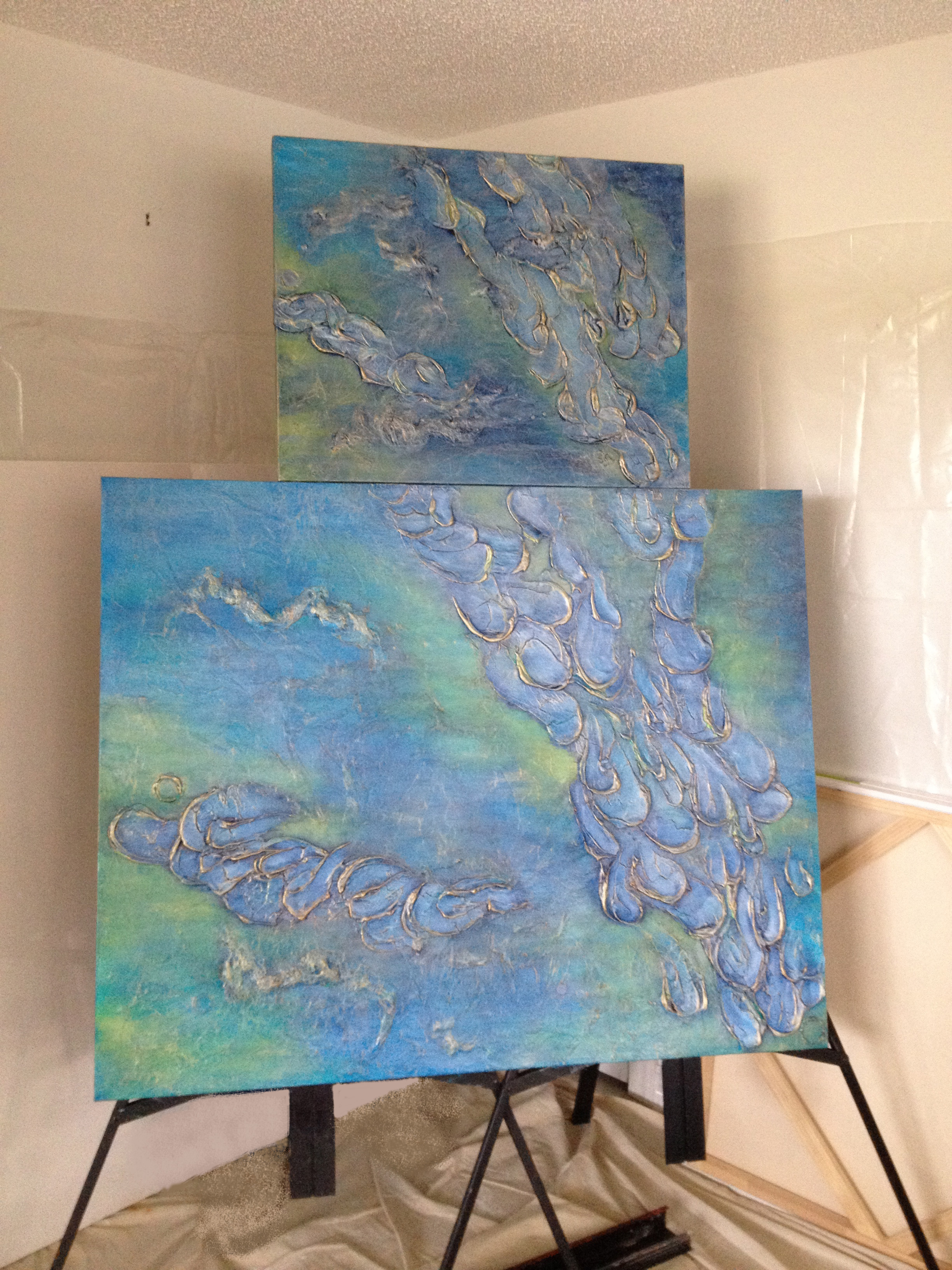 PEACEFUL WATERS original abstract on top and PEACEFUL WATERS II commissioned painting on bottom.