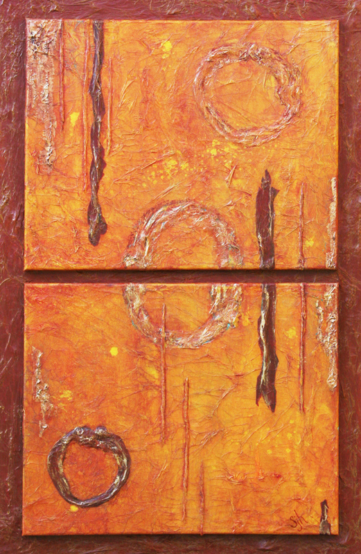 "Troika - 36"" x 24"" Triptych, Acrylic Mixed-Media - Sold"