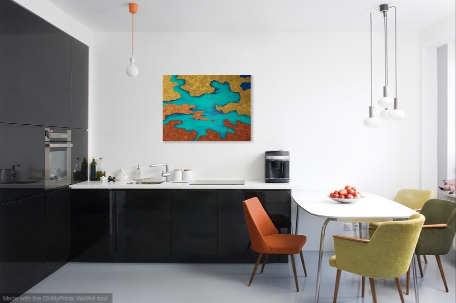 Shown hanging in a kitchen.