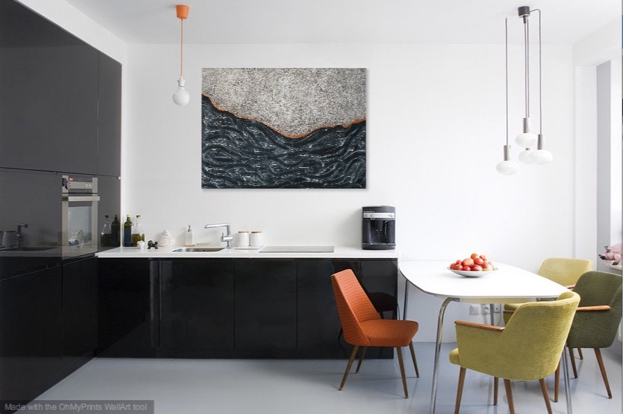 Shown hanging horizontal in a kitchen.