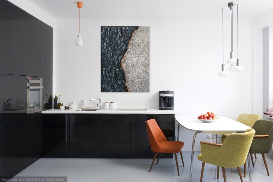 Shown hanging vertical in a kitchen.