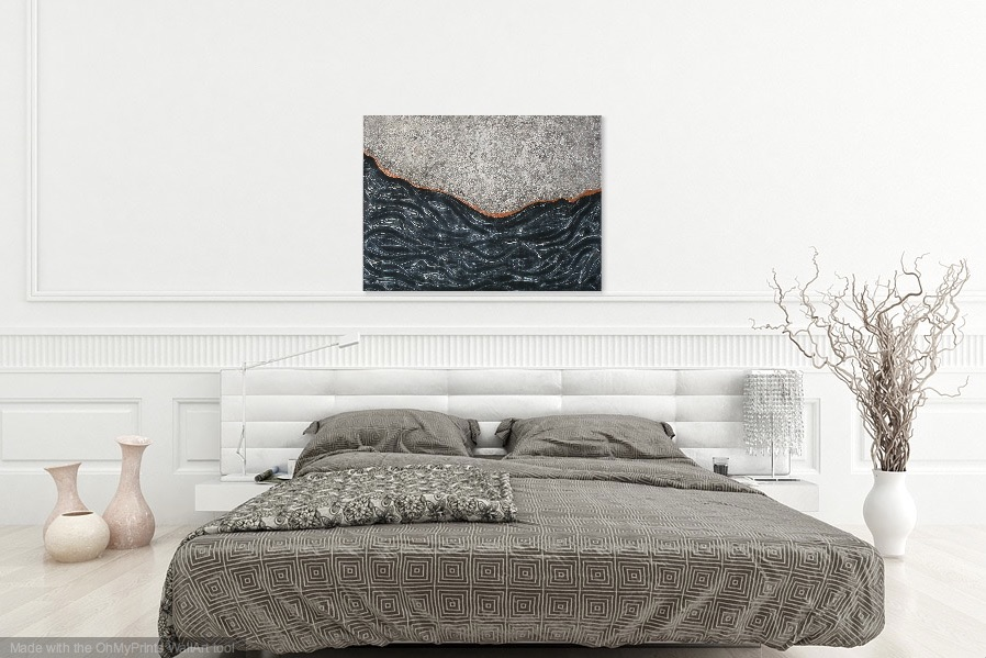 Shown hanging horizontal in a bedroom.