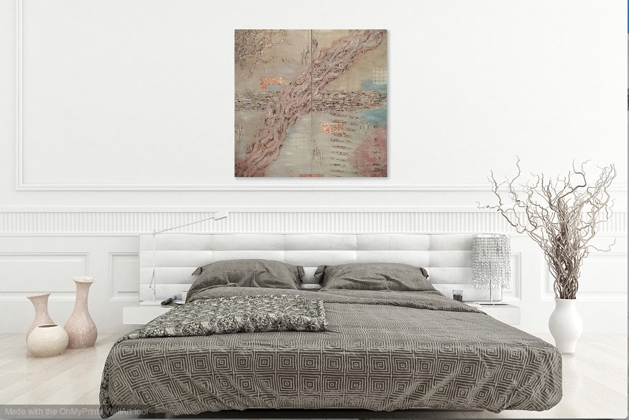 Shown hanging together in a bedroom setting.